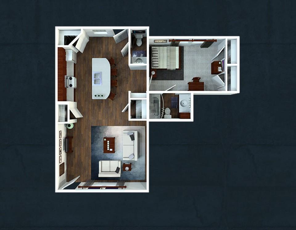 1 Bedroom 1 5 Bath Apartment. One Bedroom Floorplans   The Avenue at Lubbock